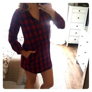 Red and blue flannel dress/tunic